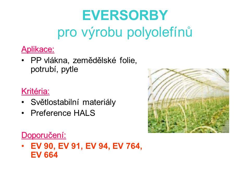 EVERSORBY pro výrobu polyolefínů Aplikace: PP vlákna, zemědělské folie, potrubí, pytle Kritéria Kritéria: Světlostabilní materiály Preference HALSDoporučení: EV 90, EV 91, EV 94, EV 764, EV 664
