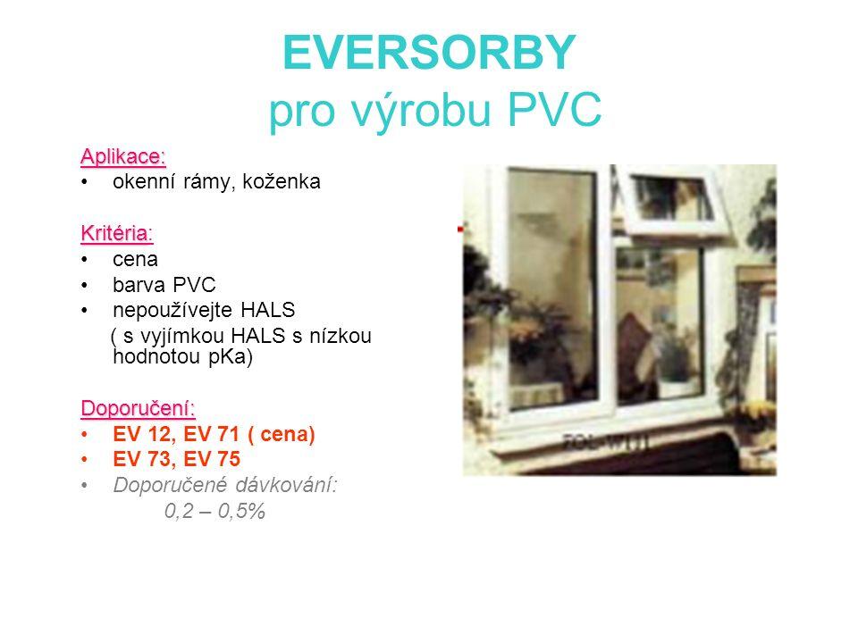 EVERSORBY pro výrobu PVC Aplikace: okenní rámy, koženka Kritéria Kritéria: cena barva PVC nepoužívejte HALS ( s vyjímkou HALS s nízkou hodnotou pKa)Doporučení: EV 12, EV 71 ( cena) EV 73, EV 75 Doporučené dávkování: 0,2 – 0,5%