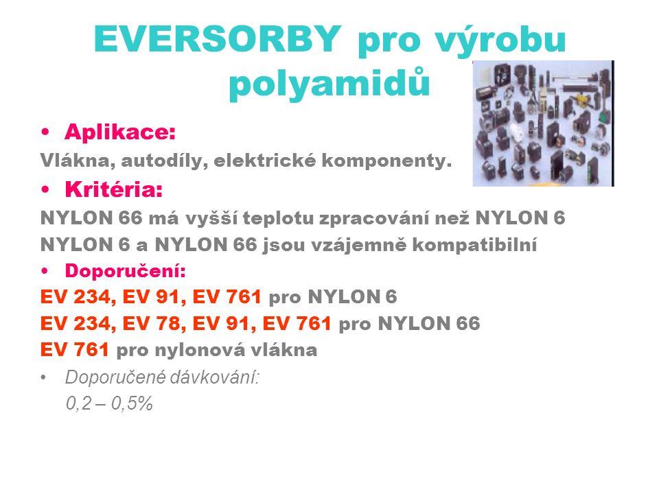 EVERSORBY pro výrobu polyamidů Aplikace: Vlákna, autodíly, elektrické komponenty.