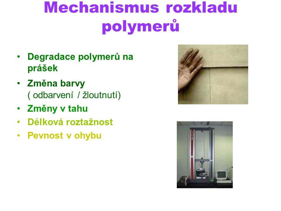 Mechanismus rozkladu polymerů Degradace polymerů na prášek Změna barvy ( odbarvení / žloutnutí) Změny v tahu Délková roztažnost Pevnost v ohybu