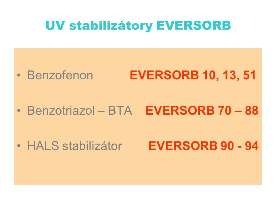 UV stabilizátory EVERSORB Benzofenon EVERSORB 10, 13, 51 Benzotriazol – BTA EVERSORB 70 – 88 HALS stabilizátor EVERSORB 90 - 94