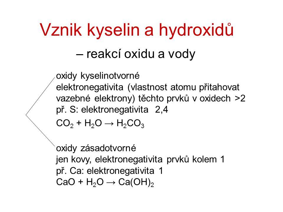 Vznik kyselin a hydroxidů – reakcí oxidu a vody oxidy kyselinotvorné elektronegativita (vlastnost atomu přitahovat vazebné elektrony) těchto prvků v oxidech >2 př.