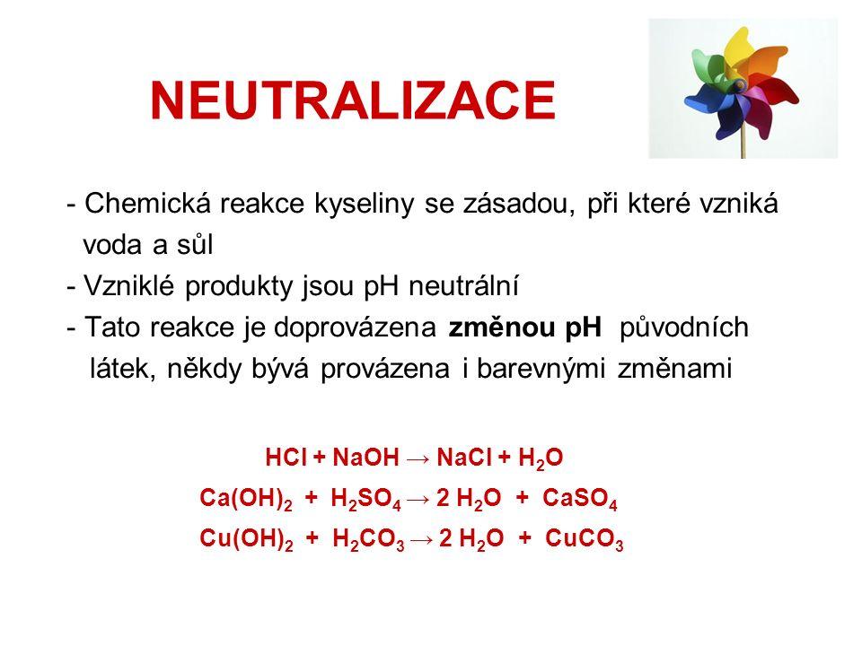NEUTRALIZACE - Chemická reakce kyseliny se zásadou, při které vzniká voda a sůl - Vzniklé produkty jsou pH neutrální - Tato reakce je doprovázena změnou pH původních látek, někdy bývá provázena i barevnými změnami HCl + NaOH → NaCl + H 2 O Ca(OH) 2 + H 2 SO 4 → 2 H 2 O + CaSO 4 Cu(OH) 2 + H 2 CO 3 → 2 H 2 O + CuCO 3