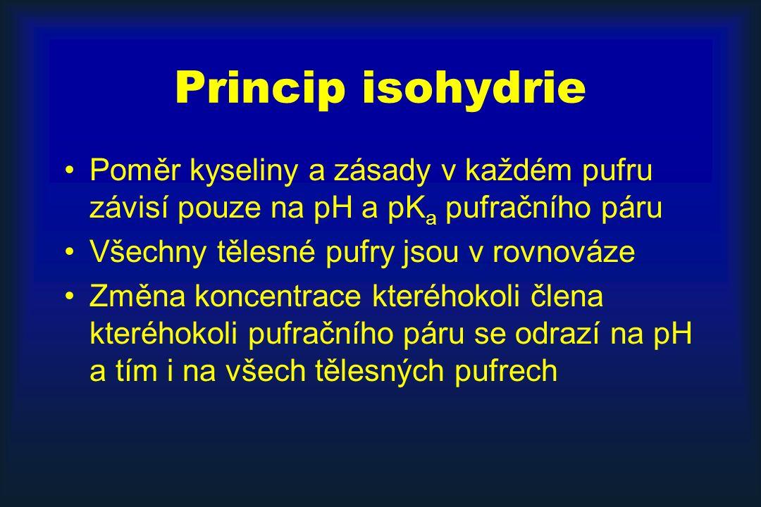 Princip isohydrie Poměr kyseliny a zásady v každém pufru závisí pouze na pH a pK a pufračního páru Všechny tělesné pufry jsou v rovnováze Změna koncentrace kteréhokoli člena kteréhokoli pufračního páru se odrazí na pH a tím i na všech tělesných pufrech