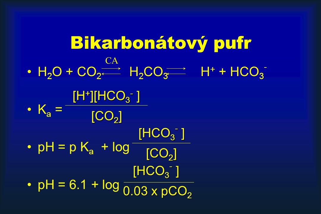 H 2 O + CO 2 H 2 CO 3 H + + HCO 3 - K a = pH = p K a + log pH = 6.1 + log CA [CO 2 ] [H + ][HCO 3 - ] [CO 2 ] [HCO 3 - ] 0.03 x pCO 2 [HCO 3 - ] Bikarbonátový pufr