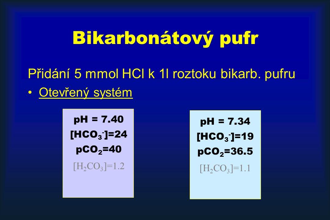 Bikarbonátový pufr Přidání 5 mmol HCl k 1l roztoku bikarb.