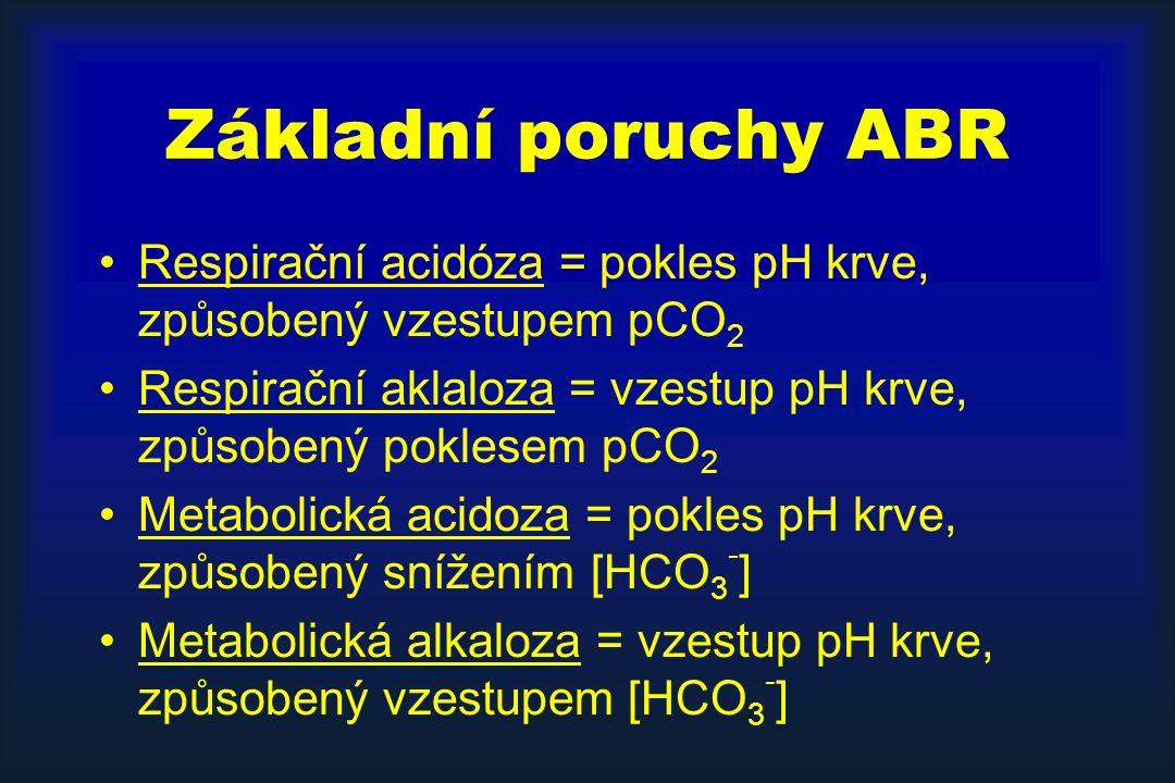 Základní poruchy ABR Respirační acidóza = pokles pH krve, způsobený vzestupem pCO 2 Respirační aklaloza = vzestup pH krve, způsobený poklesem pCO 2 Metabolická acidoza = pokles pH krve, způsobený snížením [HCO 3 - ] Metabolická alkaloza = vzestup pH krve, způsobený vzestupem [HCO 3 - ]