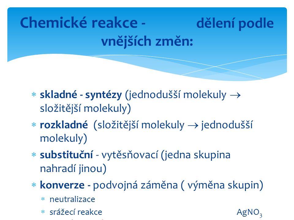  skladné - syntézy (jednodušší molekuly  složitější molekuly)  rozkladné (složitější molekuly  jednodušší molekuly)  substituční - vytěsňovací (j