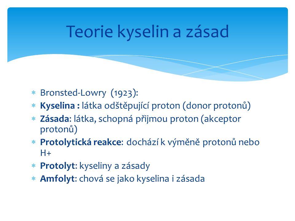  Bronsted-Lowry (1923):  Kyselina : látka odštěpující proton (donor protonů)  Zásada: látka, schopná přijmou proton (akceptor protonů)  Protolytic