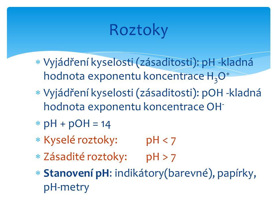  Vyjádření kyselosti (zásaditosti): pH -kladná hodnota exponentu koncentrace H 3 O +  Vyjádření kyselosti (zásaditosti): pOH -kladná hodnota exponen