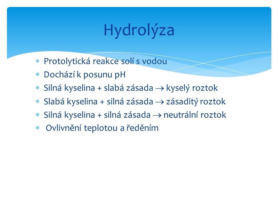  Protolytická reakce solí s vodou  Dochází k posunu pH  Silná kyselina + slabá zásada  kyselý roztok  Slabá kyselina + silná zásada  zásaditý ro