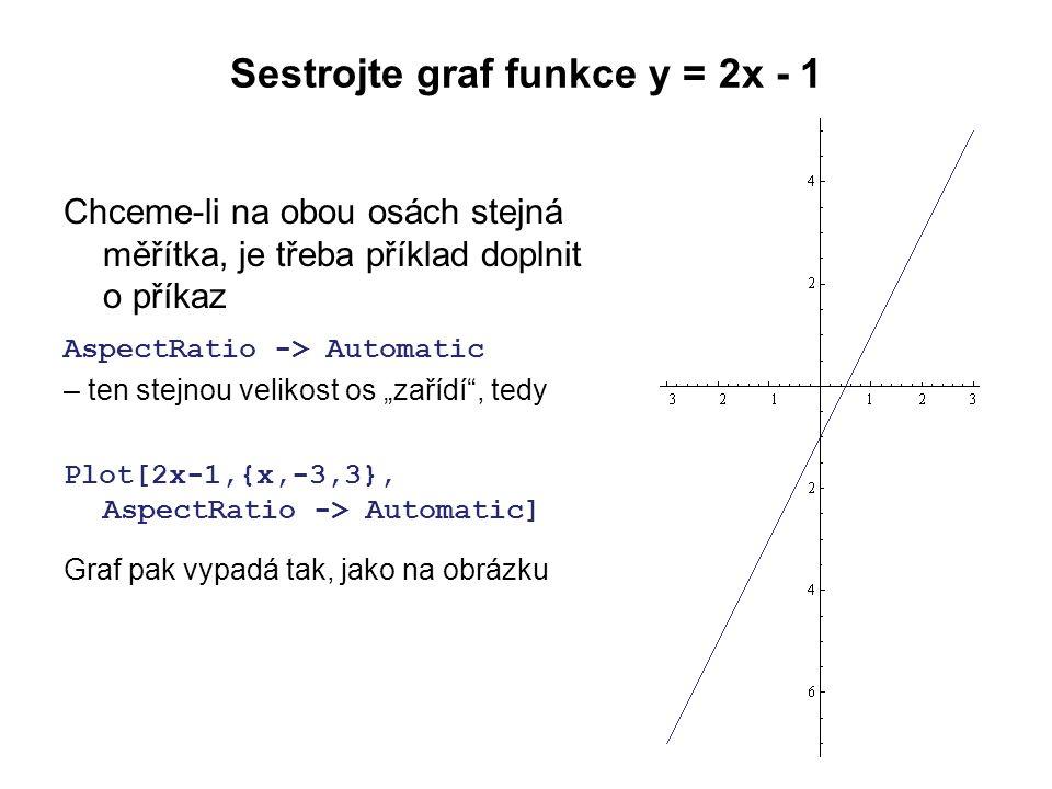 """Sestrojte graf funkce y = 2x - 1 Chceme-li na obou osách stejná měřítka, je třeba příklad doplnit o příkaz AspectRatio -> Automatic – ten stejnou velikost os """"zařídí , tedy Plot[2x-1,{x,-3,3}, AspectRatio -> Automatic] Graf pak vypadá tak, jako na obrázku"""
