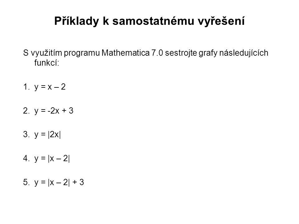 Příklady k samostatnému vyřešení S využitím programu Mathematica 7.0 sestrojte grafy následujících funkcí: 1.y = x – 2 2.y = -2x + 3 3.y = |2x| 4.y = |x – 2| 5.y = |x – 2| + 3