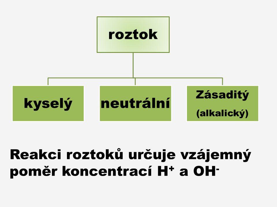 roztok kyselý neutrální Zásaditý (alkalický) Reakci roztoků určuje vzájemný poměr koncentrací H + a OH -