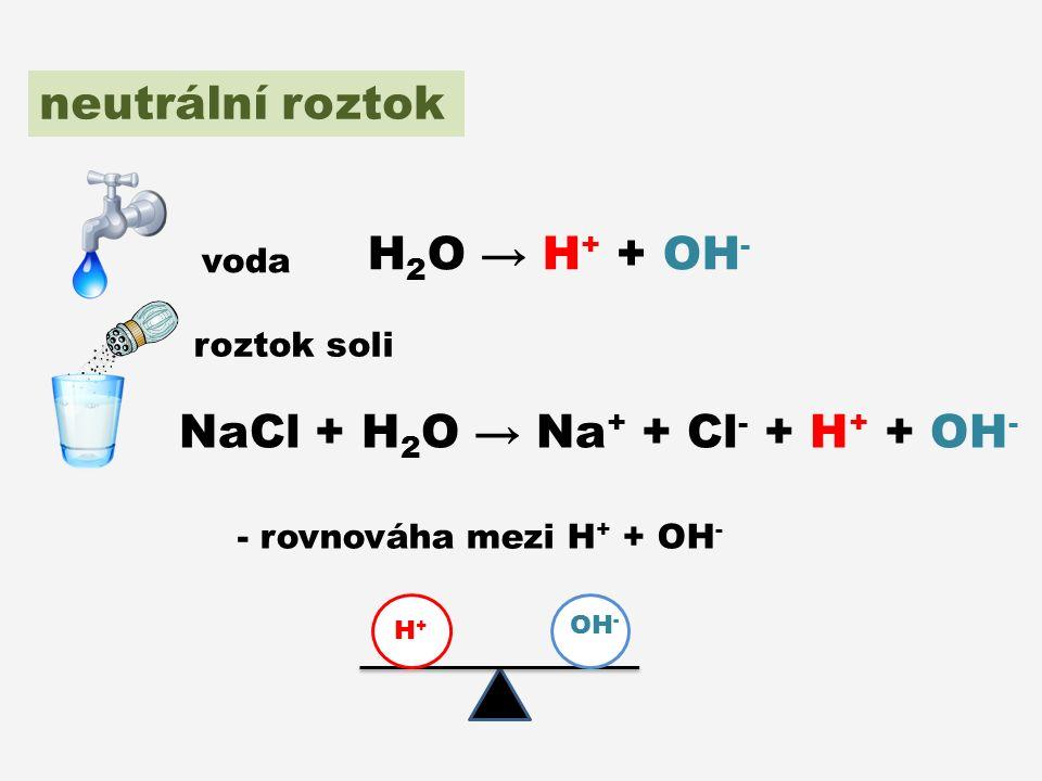 neutrální roztok - rovnováha mezi H + + OH - H+H+ OH - voda roztok soli H 2 O → H + + OH - NaCl + H 2 O → Na + + Cl - + H + + OH -