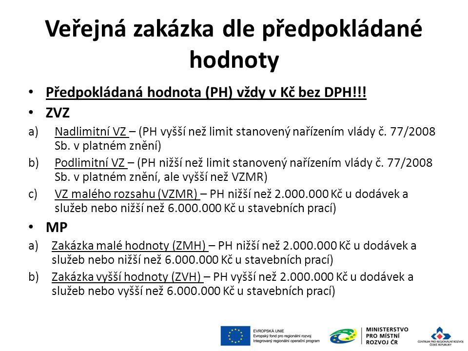 Veřejná zakázka dle předpokládané hodnoty Předpokládaná hodnota (PH) vždy v Kč bez DPH!!! ZVZ a)Nadlimitní VZ – (PH vyšší než limit stanovený nařízení