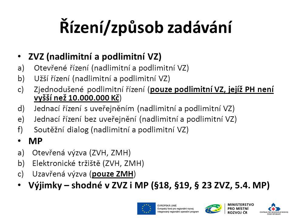 Řízení/způsob zadávání ZVZ (nadlimitní a podlimitní VZ) a)Otevřené řízení (nadlimitní a podlimitní VZ) b)Užší řízení (nadlimitní a podlimitní VZ) c)Zjednodušené podlimitní řízení (pouze podlimitní VZ, jejíž PH není vyšší než 10.000.000 Kč) d)Jednací řízení s uveřejněním (nadlimitní a podlimitní VZ) e)Jednací řízení bez uveřejnění (nadlimitní a podlimitní VZ) f)Soutěžní dialog (nadlimitní a podlimitní VZ) MP a)Otevřená výzva (ZVH, ZMH) b)Elektronické tržiště (ZVH, ZMH) c)Uzavřená výzva (pouze ZMH) Výjimky – shodné v ZVZ i MP (§18, §19, § 23 ZVZ, 5.4.