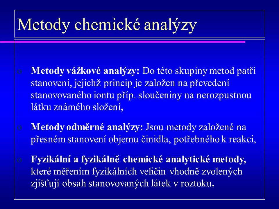 oMetody vážkové analýzy: Do této skupiny metod patří stanovení, jejichž princip je založen na převedení stanovovaného iontu příp.