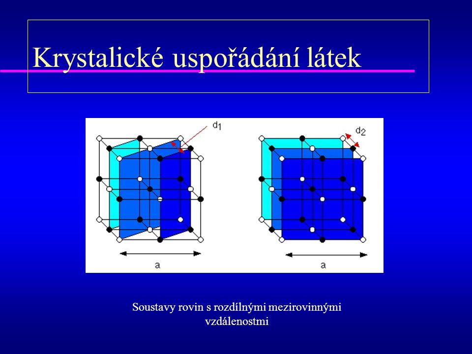 Krystalické uspořádání látek Soustavy rovin s rozdílnými mezirovinnými vzdálenostmi