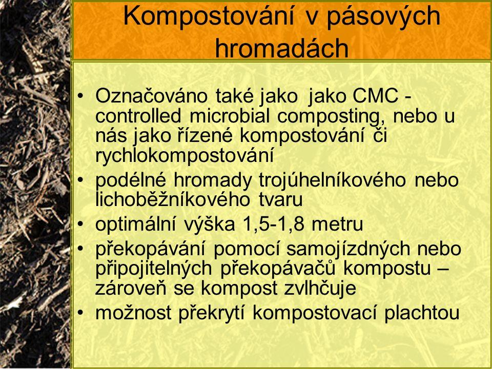 Kompostování v pásových hromadách Označováno také jako jako CMC - controlled microbial composting, nebo u nás jako řízené kompostování či rychlokompos