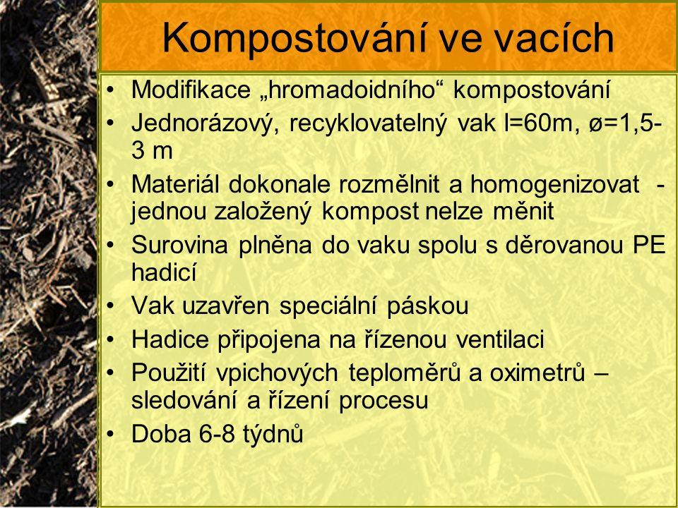 """Kompostování ve vacích Modifikace """"hromadoidního"""" kompostování Jednorázový, recyklovatelný vak l=60m, ø=1,5- 3 m Materiál dokonale rozmělnit a homogen"""