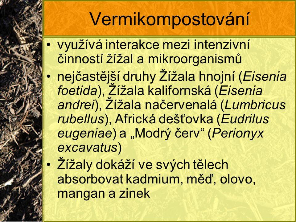 """Vermikompostování využívá interakce mezi intenzivní činností žížal a mikroorganismů nejčastější druhy Žížala hnojní (Eisenia foetida), Žížala kalifornská (Eisenia andrei), Žížala načervenalá (Lumbricus rubellus), Africká dešťovka (Eudrilus eugeniae) a """"Modrý červ (Perionyx excavatus) Žížaly dokáží ve svých tělech absorbovat kadmium, měď, olovo, mangan a zinek"""