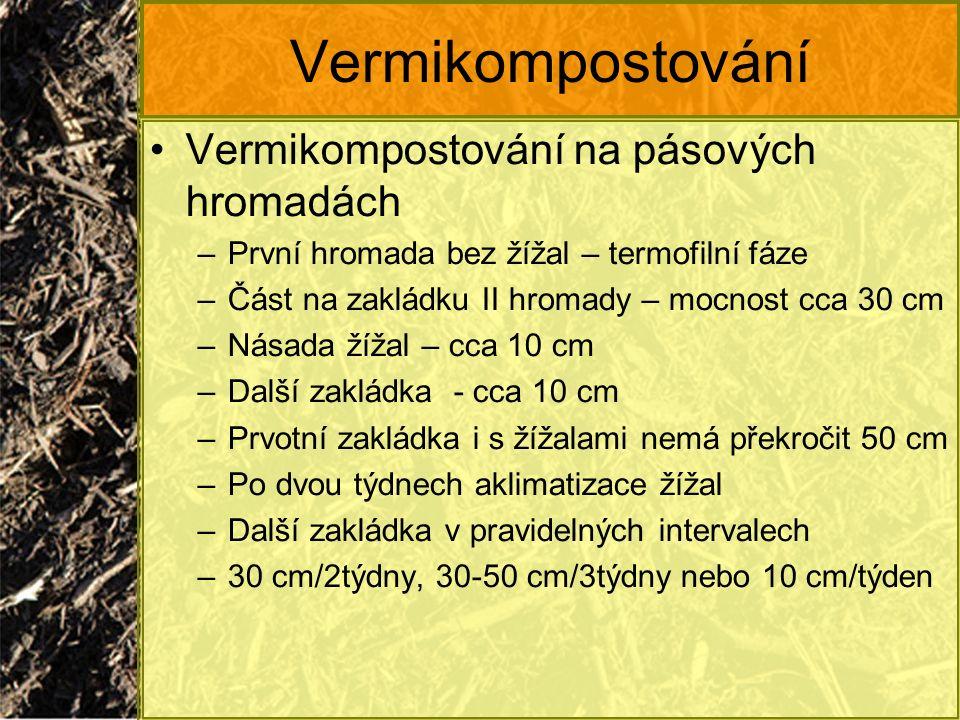 Vermikompostování Vermikompostování na pásových hromadách –První hromada bez žížal – termofilní fáze –Část na zakládku II hromady – mocnost cca 30 cm