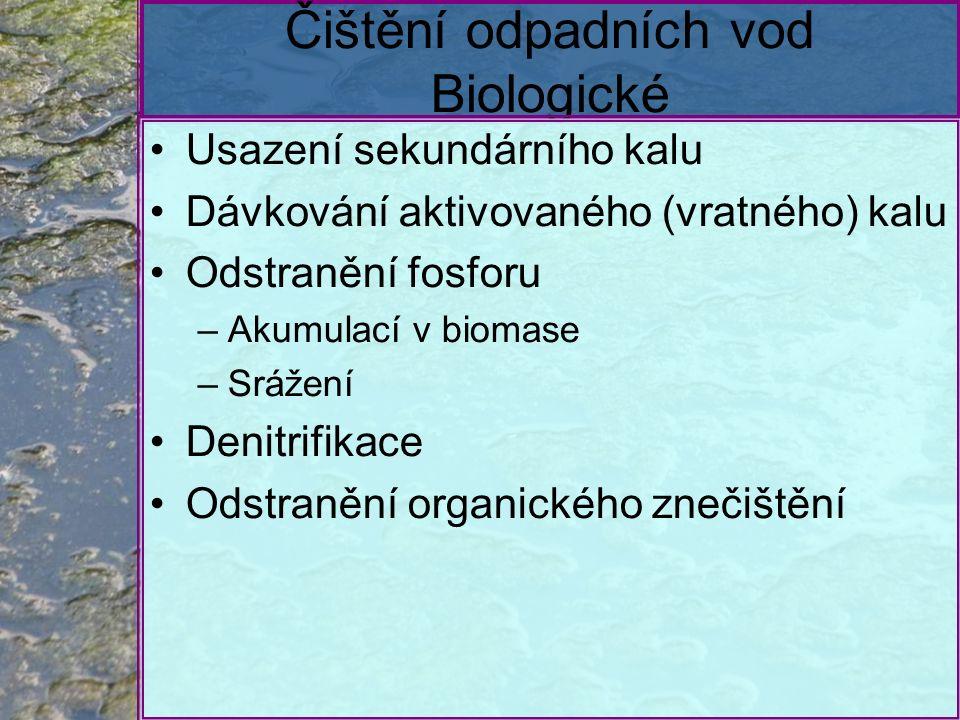 Čištění odpadních vod Biologické Usazení sekundárního kalu Dávkování aktivovaného (vratného) kalu Odstranění fosforu –Akumulací v biomase –Srážení Denitrifikace Odstranění organického znečištění