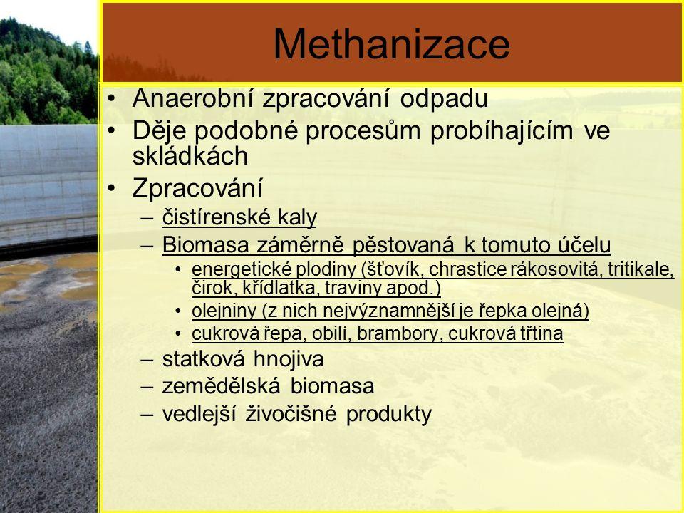Methanizace Anaerobní zpracování odpadu Děje podobné procesům probíhajícím ve skládkách Zpracování –čistírenské kaly –Biomasa záměrně pěstovaná k tomuto účelu energetické plodiny (šťovík, chrastice rákosovitá, tritikale, čirok, křídlatka, traviny apod.) olejniny (z nich nejvýznamnější je řepka olejná) cukrová řepa, obilí, brambory, cukrová třtina –statková hnojiva –zemědělská biomasa –vedlejší živočišné produkty