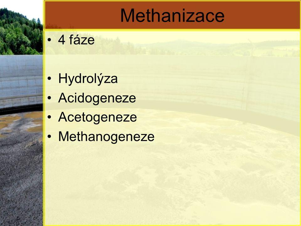 Methanizace 4 fáze Hydrolýza Acidogeneze Acetogeneze Methanogeneze