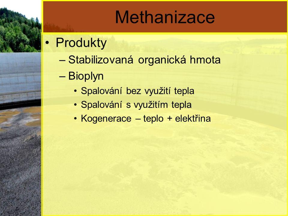 Methanizace Produkty –Stabilizovaná organická hmota –Bioplyn Spalování bez využití tepla Spalování s využitím tepla Kogenerace – teplo + elektřina