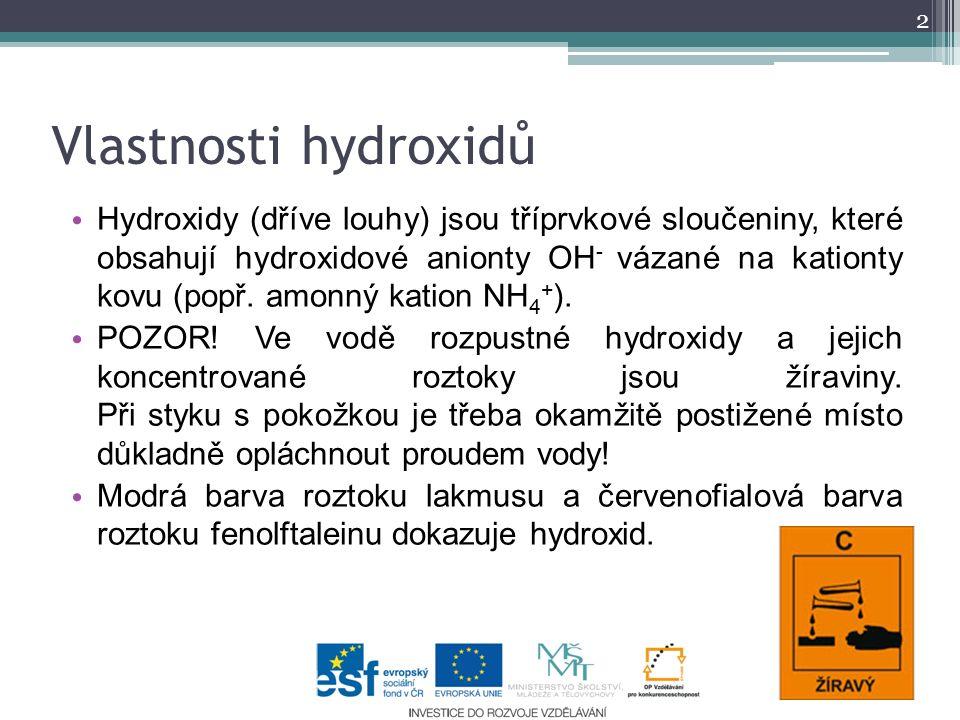 Název = podstatné jméno hydroxid + přídavné jméno odvozené od kationtu kovu Vzorec X I-VIII (OH) n -I, kde n = 1-8 a X je značka kovu Vytvoření vzorce hydroxidu hydroxid draselný Na I (OH) -I hydroxid vápenatý Ca II (OH) 2 -I Vytvoření názvu hydroxidu ze vzorce u vzorce Fe(OH) 3 I.
