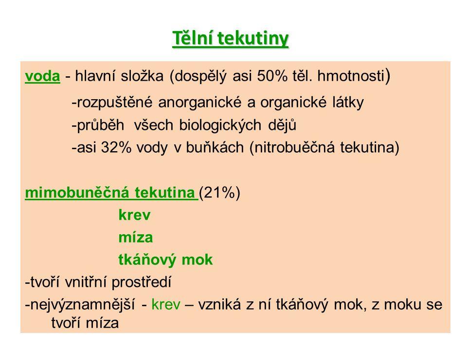 voda - hlavní složka (dospělý asi 50% těl.