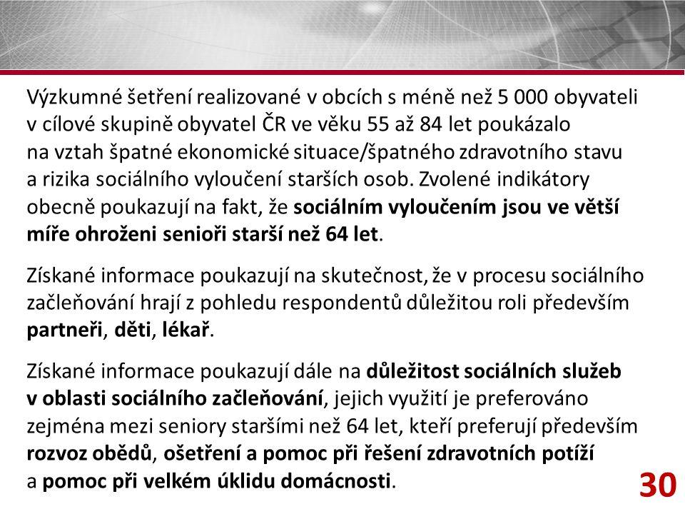 30 Výzkumné šetření realizované v obcích s méně než 5 000 obyvateli v cílové skupině obyvatel ČR ve věku 55 až 84 let poukázalo na vztah špatné ekonomické situace/špatného zdravotního stavu a rizika sociálního vyloučení starších osob.