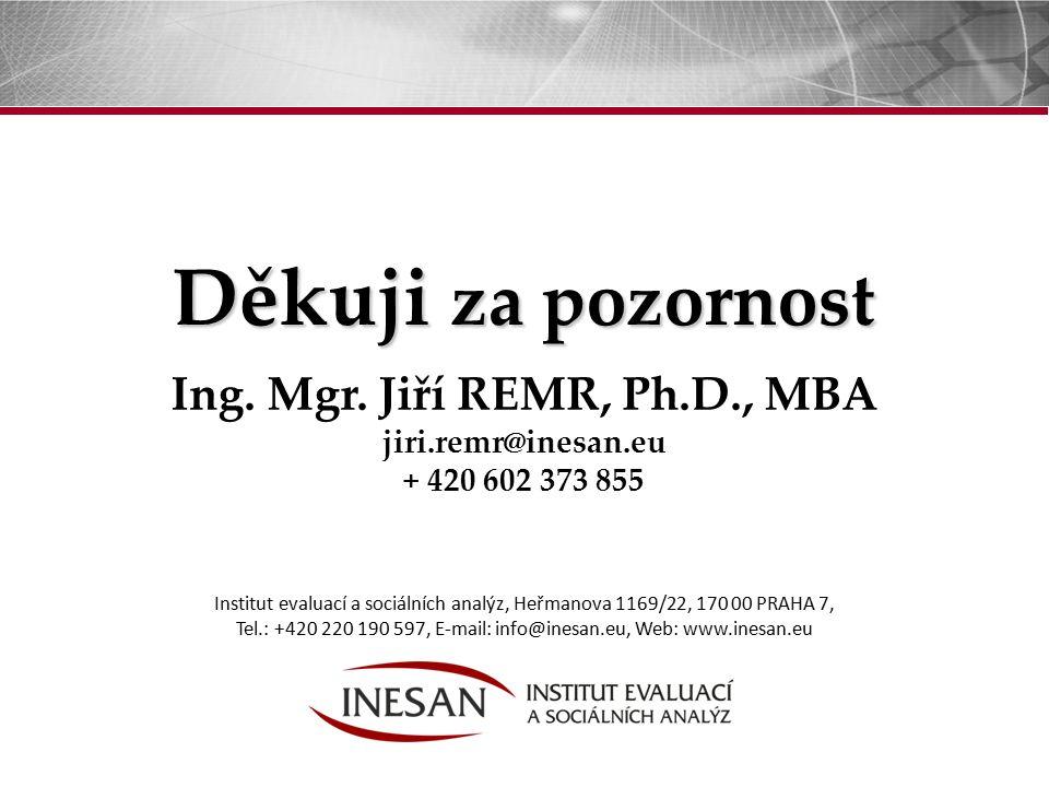 32 Institut evaluací a sociálních analýz, Heřmanova 1169/22, 170 00 PRAHA 7, Tel.: +420 220 190 597, E-mail: info@inesan.eu, Web: www.inesan.eu Děkuji