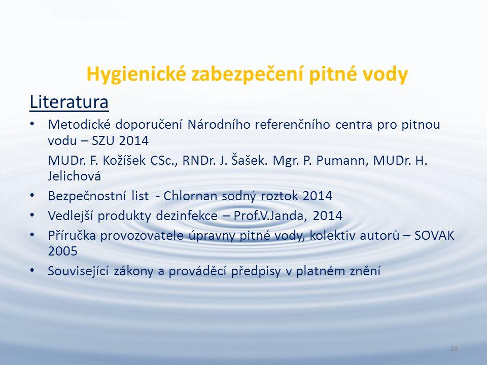 Hygienické zabezpečení pitné vody Literatura Metodické doporučení Národního referenčního centra pro pitnou vodu – SZU 2014 MUDr.