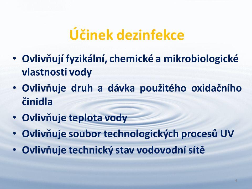 Účinek dezinfekce Ovlivňují fyzikální, chemické a mikrobiologické vlastnosti vody Ovlivňuje druh a dávka použitého oxidačního činidla Ovlivňuje teplota vody Ovlivňuje soubor technologických procesů UV Ovlivňuje technický stav vodovodní sítě 4
