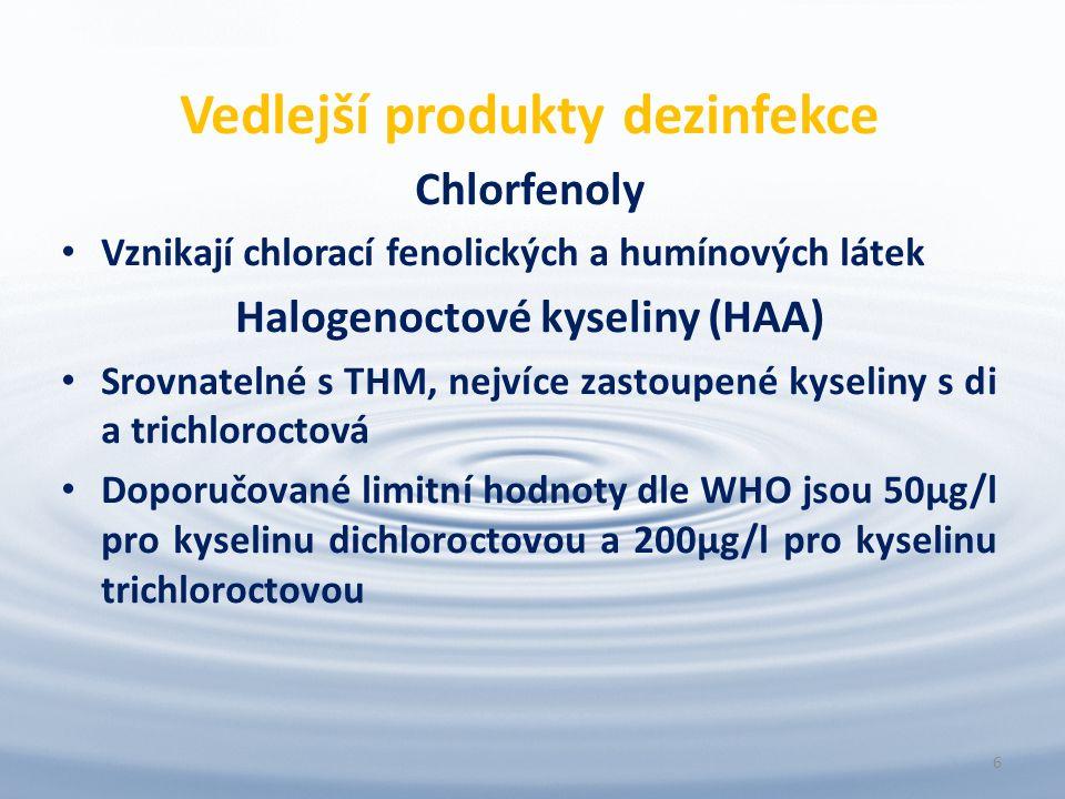 Vedlejší produkty dezinfekce Chlorfenoly Vznikají chlorací fenolických a humínových látek Halogenoctové kyseliny (HAA) Srovnatelné s THM, nejvíce zastoupené kyseliny s di a trichloroctová Doporučované limitní hodnoty dle WHO jsou 50µg/l pro kyselinu dichloroctovou a 200µg/l pro kyselinu trichloroctovou 6
