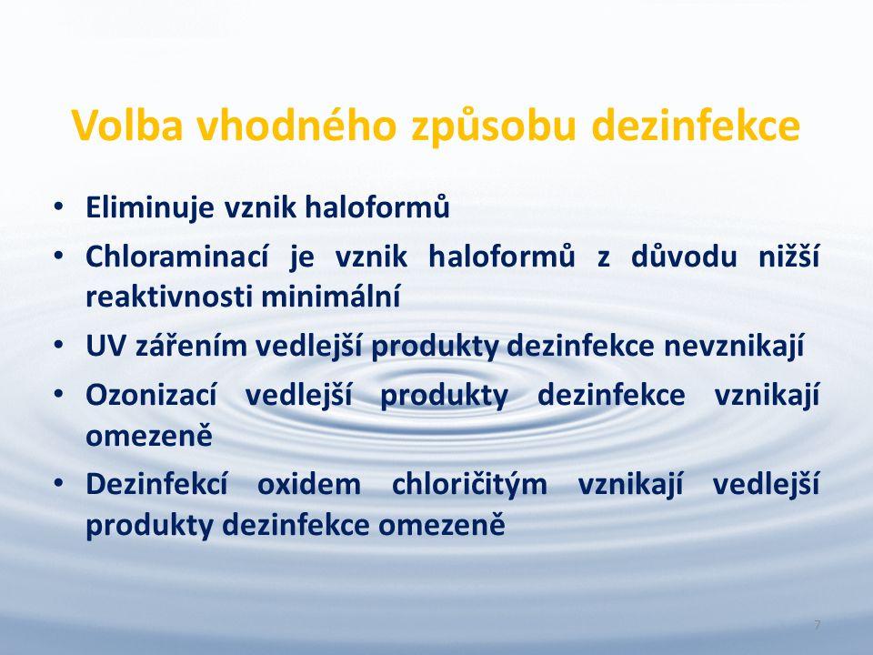 Volba vhodného způsobu dezinfekce Eliminuje vznik haloformů Chloraminací je vznik haloformů z důvodu nižší reaktivnosti minimální UV zářením vedlejší produkty dezinfekce nevznikají Ozonizací vedlejší produkty dezinfekce vznikají omezeně Dezinfekcí oxidem chloričitým vznikají vedlejší produkty dezinfekce omezeně 7