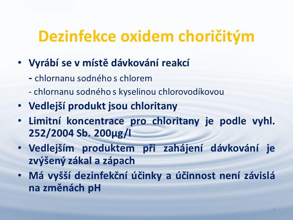 Dezinfekce oxidem choričitým Vyrábí se v místě dávkování reakcí - chlornanu sodného s chlorem - chlornanu sodného s kyselinou chlorovodíkovou Vedlejší produkt jsou chloritany Limitní koncentrace pro chloritany je podle vyhl.