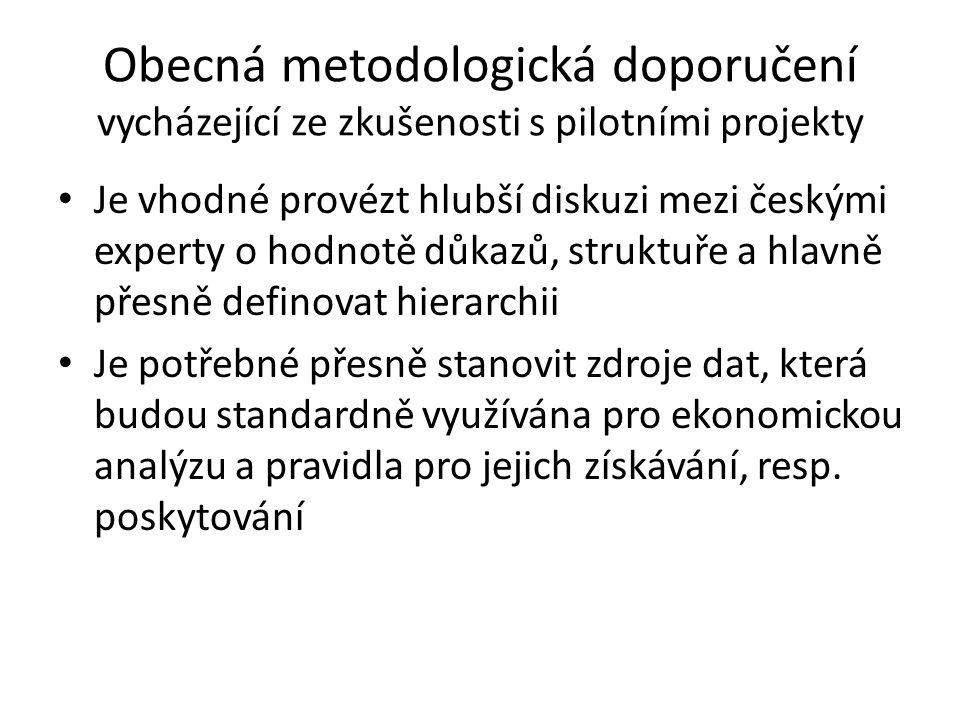 Obecná metodologická doporučení vycházející ze zkušenosti s pilotními projekty Je vhodné provézt hlubší diskuzi mezi českými experty o hodnotě důkazů, struktuře a hlavně přesně definovat hierarchii Je potřebné přesně stanovit zdroje dat, která budou standardně využívána pro ekonomickou analýzu a pravidla pro jejich získávání, resp.