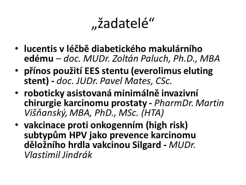 """""""žadatelé"""" lucentis v léčbě diabetického makulárního edému – doc. MUDr. Zoltán Paluch, Ph.D., MBA přínos použití EES stentu (everolimus eluting stent)"""