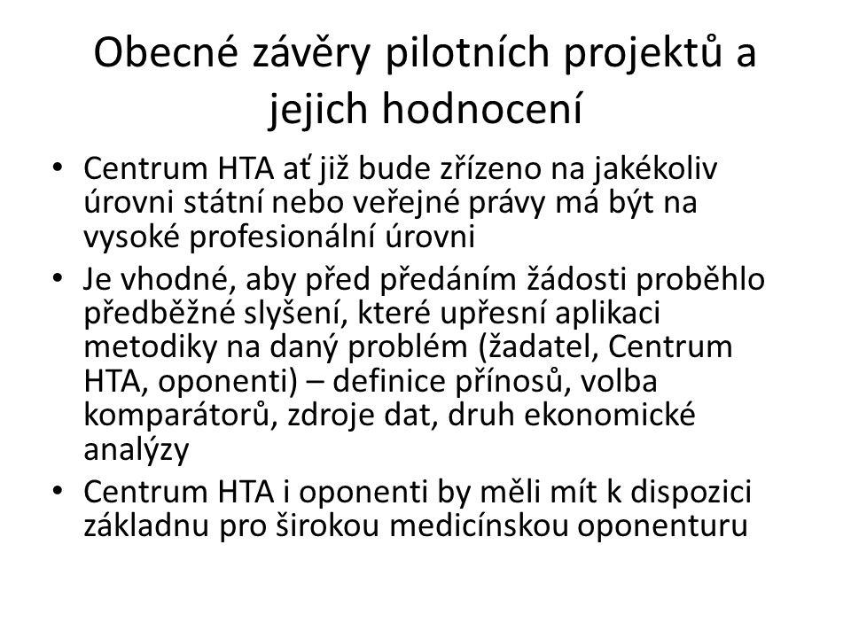 Obecné závěry pilotních projektů a jejich hodnocení Centrum HTA ať již bude zřízeno na jakékoliv úrovni státní nebo veřejné právy má být na vysoké profesionální úrovni Je vhodné, aby před předáním žádosti proběhlo předběžné slyšení, které upřesní aplikaci metodiky na daný problém (žadatel, Centrum HTA, oponenti) – definice přínosů, volba komparátorů, zdroje dat, druh ekonomické analýzy Centrum HTA i oponenti by měli mít k dispozici základnu pro širokou medicínskou oponenturu