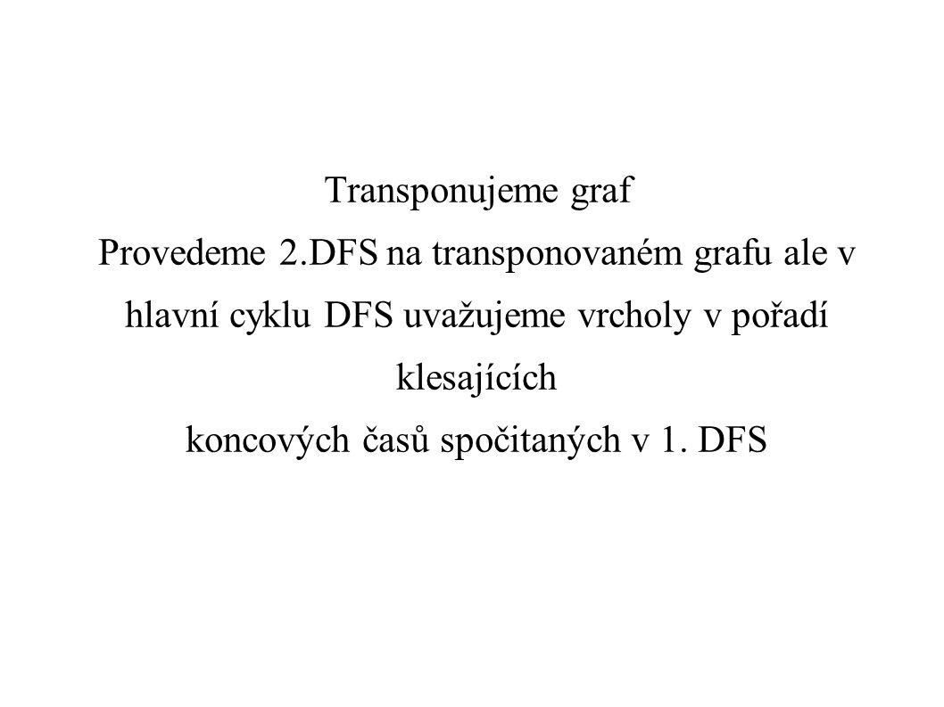 Transponujeme graf Provedeme 2.DFS na transponovaném grafu ale v hlavní cyklu DFS uvažujeme vrcholy v pořadí klesajících koncových časů spočitaných v 1.