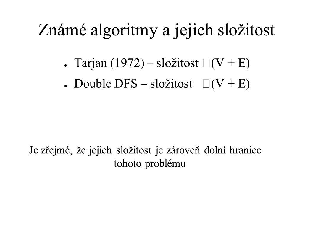 Známé algoritmy a jejich složitost ● Tarjan (1972) – složitost  (V + E) ● Double DFS – složitost  (V + E) Je zřejmé, že jejich složitost je zároveň dolní hranice tohoto problému