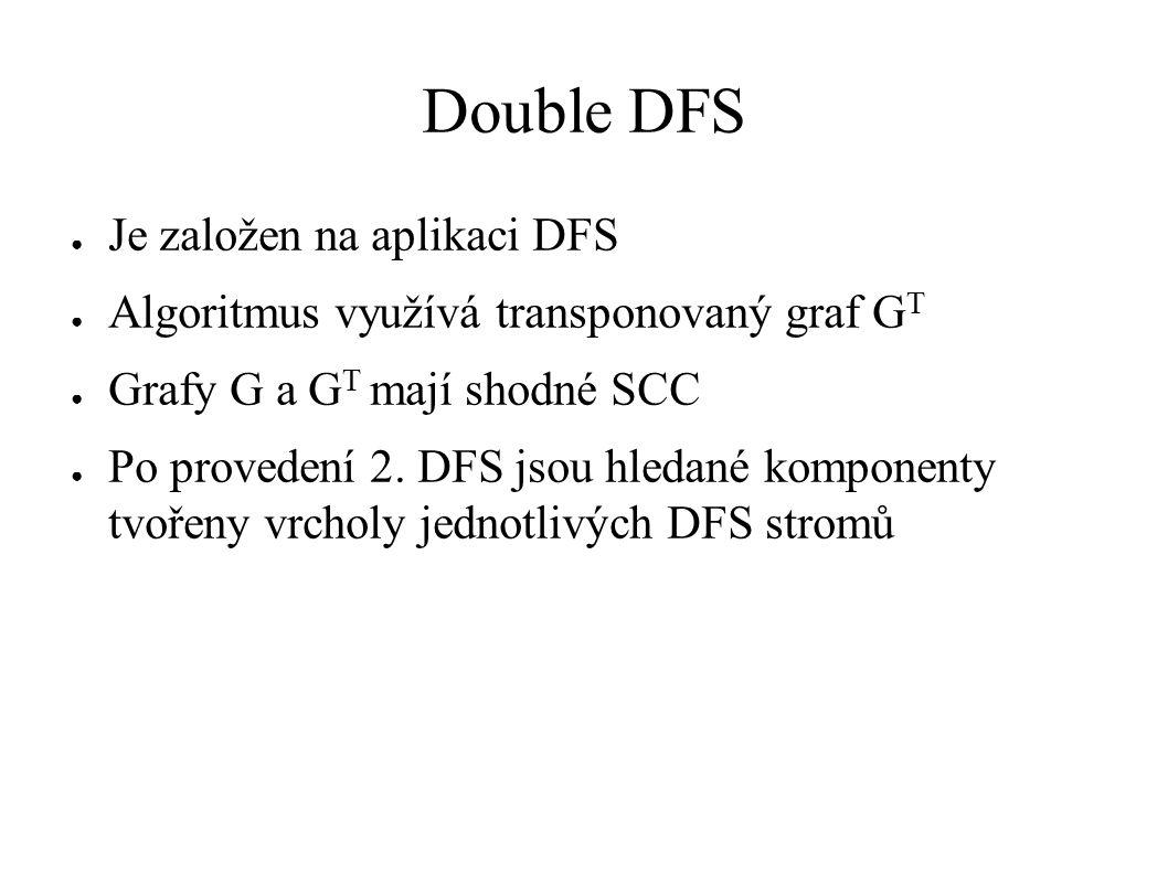 Double DFS ● Je založen na aplikaci DFS ● Algoritmus využívá transponovaný graf G T ● Grafy G a G T mají shodné SCC ● Po provedení 2.