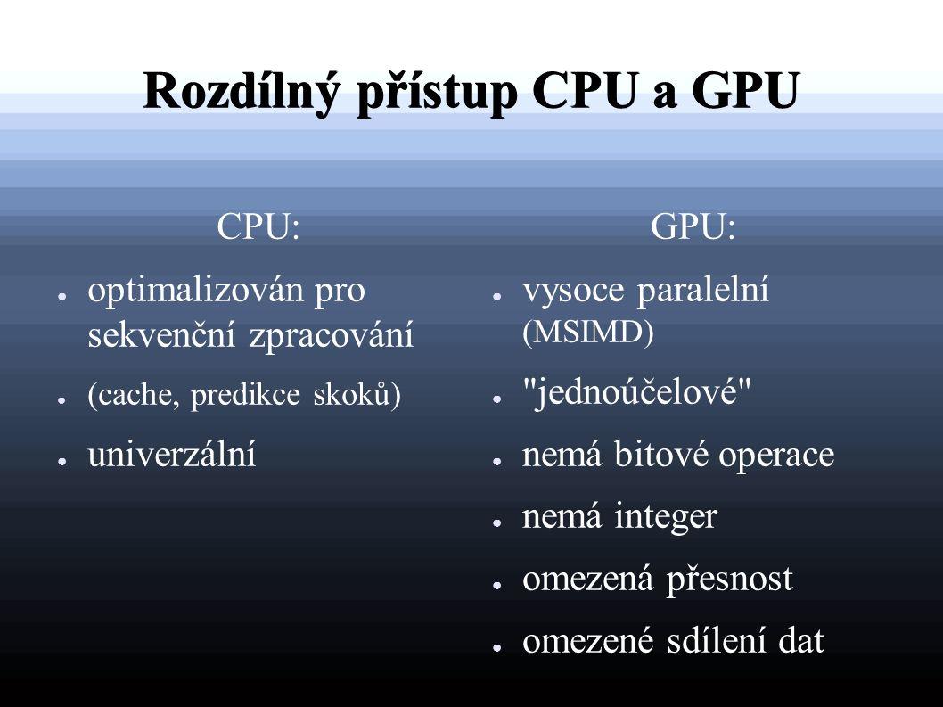 Rozdílný přístup CPU a GPU CPU: ● optimalizován pro sekvenční zpracování ● (cache, predikce skoků) ● univerzální GPU: ● vysoce paralelní (MSIMD) ● jednoúčelové ● nemá bitové operace ● nemá integer ● omezená přesnost ● omezené sdílení dat
