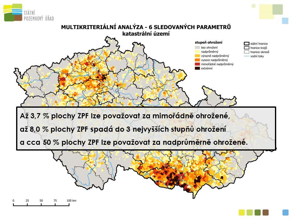 Až 3,7 % plochy ZPF lze považovat za mimořádně ohrožené, až 8,0 % plochy ZPF spadá do 3 nejvyšších stupňů ohrožení a cca 50 % plochy ZPF lze považovat za nadprůměrně ohrožené.