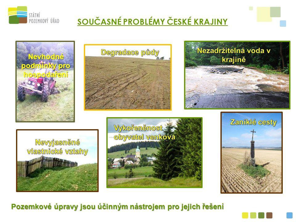 Nevhodné podmínky pro hospodaření Pozemkové úpravy jsou účinným nástrojem pro jejich řešení SOUČASNÉ PROBLÉMY ČESKÉ KRAJINY