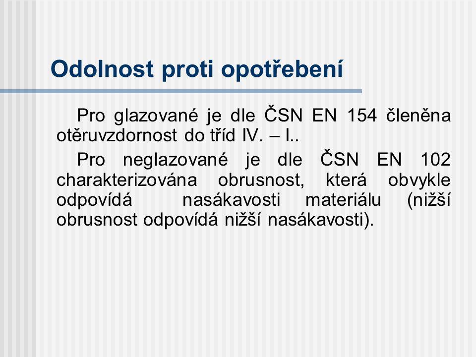 Chemická odolnost Pro glazované je členění obkladu dle ČSN EN 122 charakterizováno jako: AA - odolné (žádné viditelné změny), A – méně odolné než AA (mírné změny barvy) B – méně odolné než A (zřetelné změny barvy) C – méně odolné než B (částečné narušení glazury) D – neodolné (zničení glazury), pro neglazované jsou dle ČSN EN 106 tyto obklady odolné (nesmí dojít k narušení lícních ploch a hran)